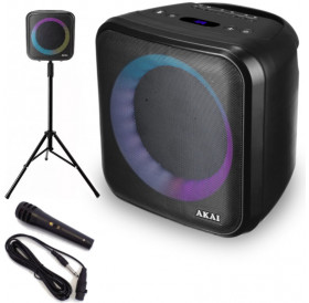 Akai ABTS-S6 Φορητό ηχείο Bluetooth karaoke με τρίποδο, USB, TWS, LED, micro SD, Aux-In, Aux-Out και ενσ. μικρόφωνο – 20 W